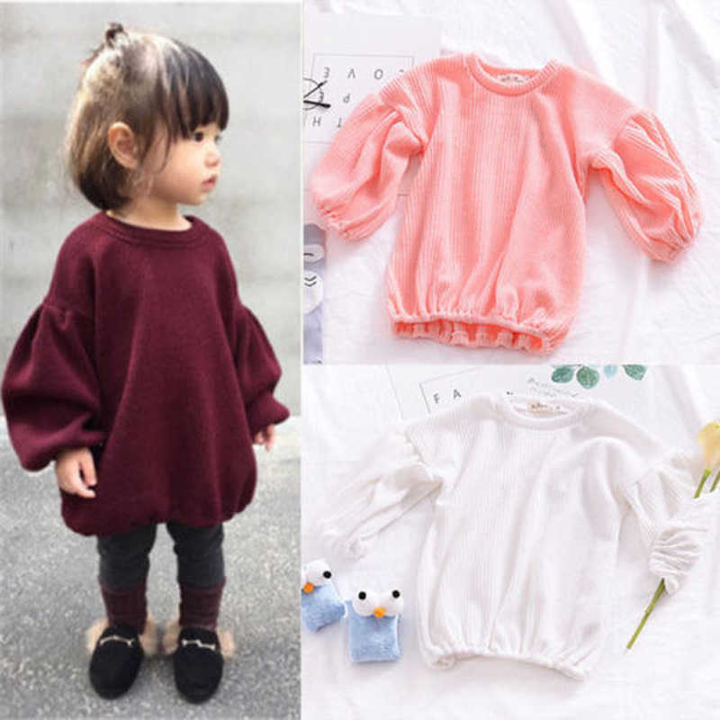 30bf7eb25d Toddler Baby Girls Fashion Sweet Lovely Sweaters 4 Style Long Lantern Sleeve  O-Neck Pullover