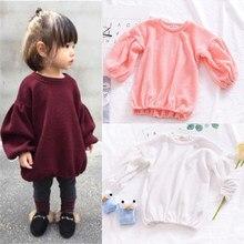 3f1fb866ca8af5 Kleinkind Baby Mädchen Mode Süße Reizende Pullover 4 Stil Lange  Laternehülse Oansatz Pullover Solide Tops Outfit Frühjahr Herbst