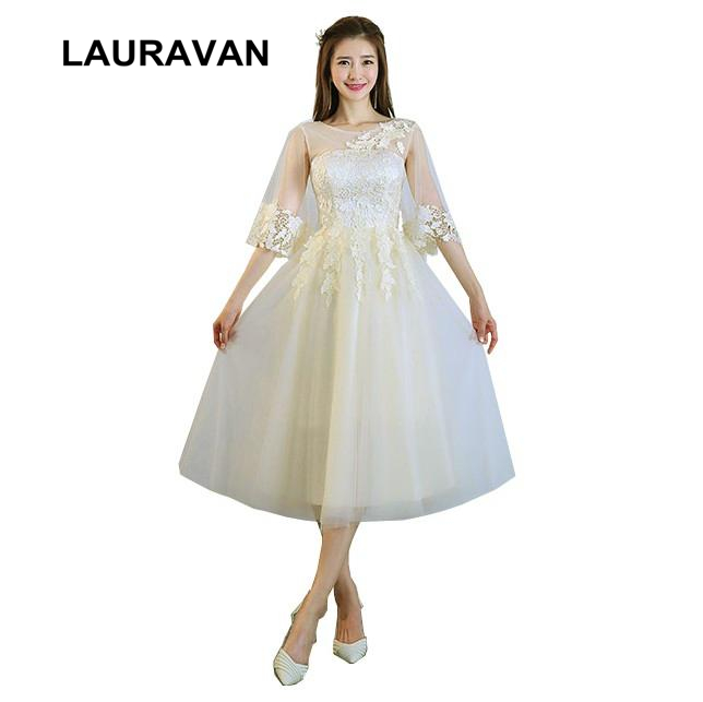 Ladies Summer Women Size 8 Short Occasion Champagne Capped Bridesmaid Party Dresses For Teens 12 Bridesmade Tea Length Dress