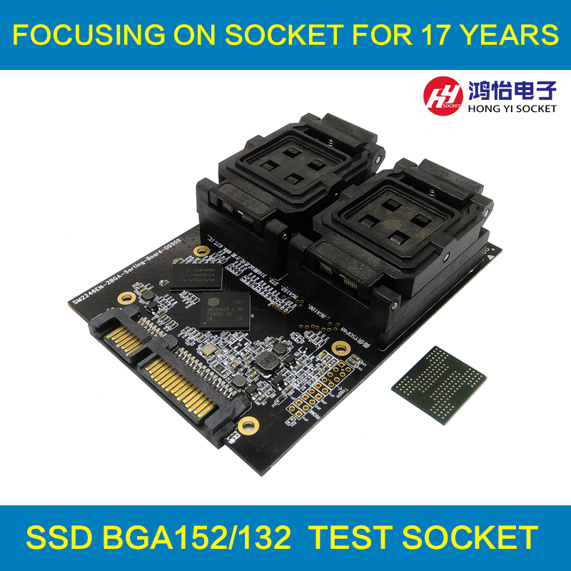 ФОТО New Arrival BGA152 BGA132 Test Socket Clamshell Structure Jig SSD Interface Socket Fixture Excellent Quality