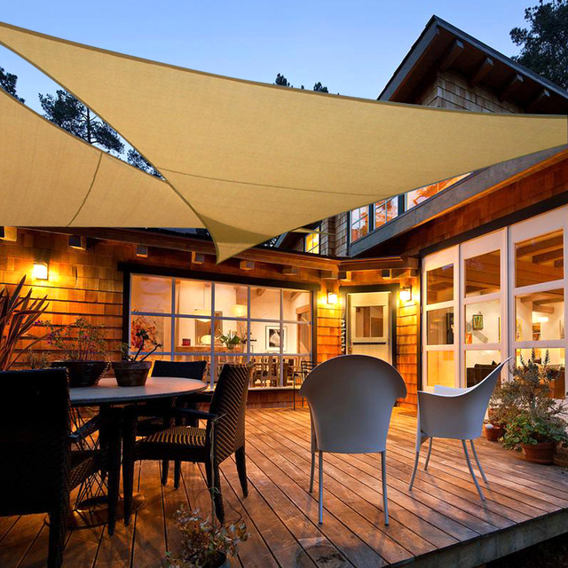 Riangle Beige Outdoor Sun Garden Shading Sails 3.6x3.6m Protection ...