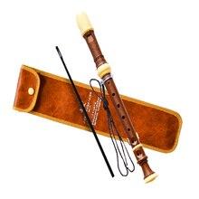 Немецкий стиль 8 отверстий рекордер кларнет сопрано китайский вертикальный dizi ABS смолы покрытие древесины зерна флейта C Ключ музыкальный инструмент