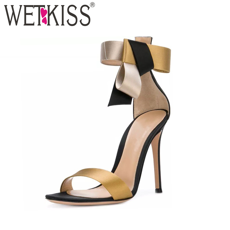 fd868146e06 WETKKISS Satin High Heels Women Sandals 2019 Brand Designer Occident Summer  Ladies Party Shoes Ankle Strap Thin Heels Footwear