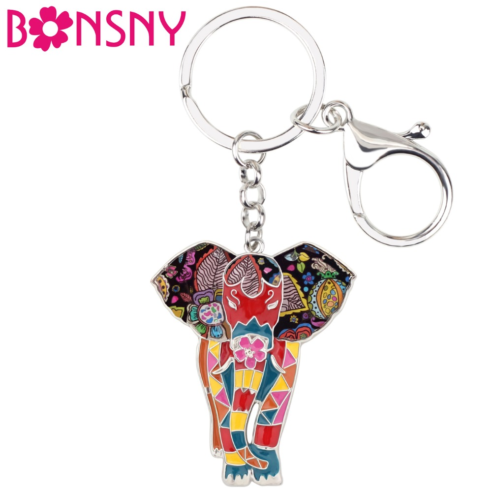 Bonsny Enamel Alloy Jungle Animal Elephant Key Chain Key Ring For Women Bag Handbag Charm Jewelry Keychain Girl Accessories
