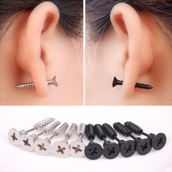 Newest Hot Sale fashion personality black screw silver earrings Hot stud  earring male stainless steel women brand free shipping 58f79eef5ad0