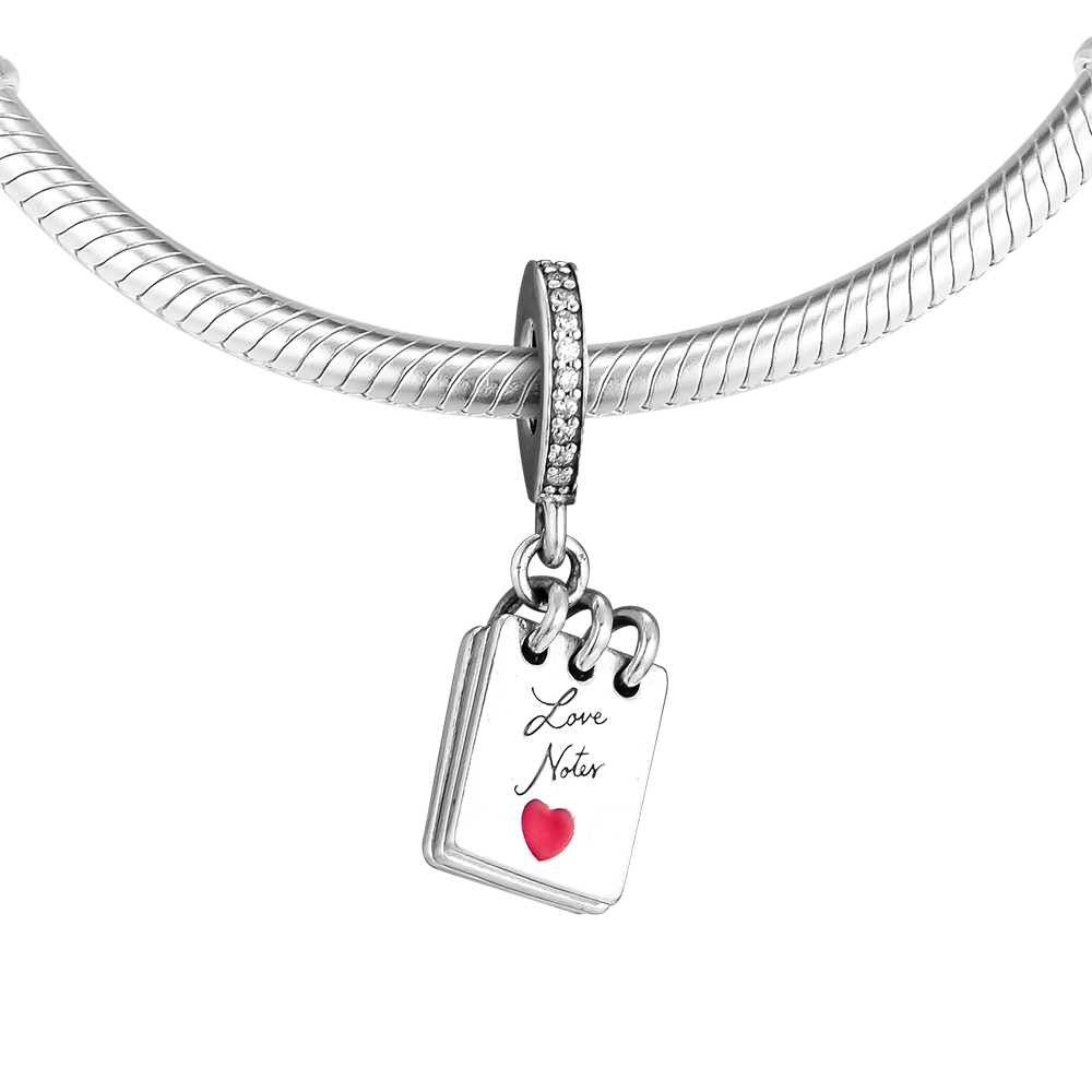 Fits For Pandora Charms Bracelets Love Notes Beads 100% 925 Sterling-Silver-Jewelry Free Shipping