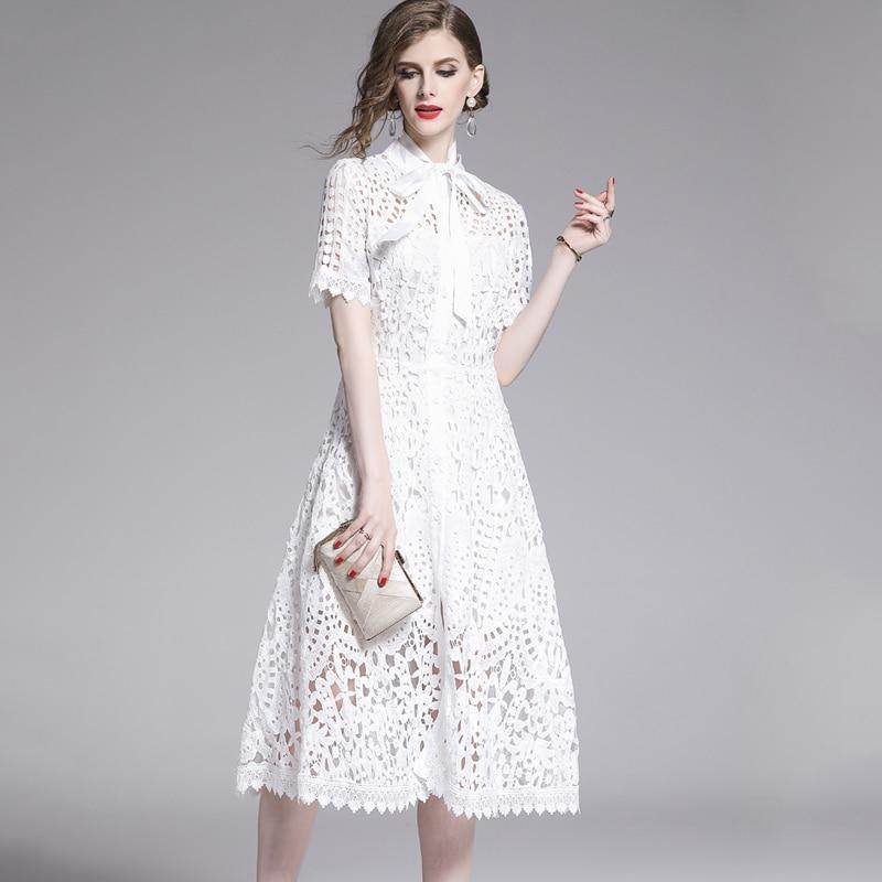 Elegant White Black Lace Hollow Out Dress 7