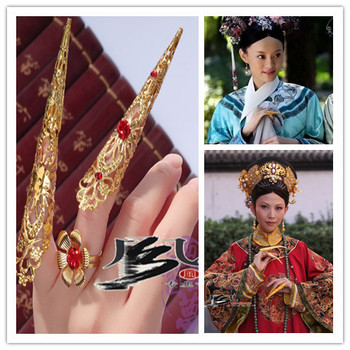 Hanfu Costume accessories queen finger accessories armor ancient Chinese empress finger cots han dynasty empress wu zetian cosplay hair empress hair tang empress hair chinese ancient hair for women