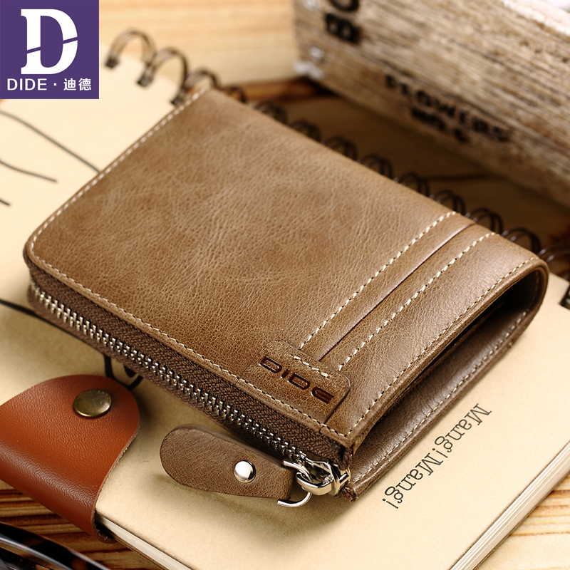 DIDE Genuine Leather Wallets male Wallet Coin Bag zipper mens small money purses Men Pockets Mini Wallet Vintage Purse Pockets baellerry small mens wallets vintage dull polish short dollar price male cards purse mini leather men wallet carteira masculina