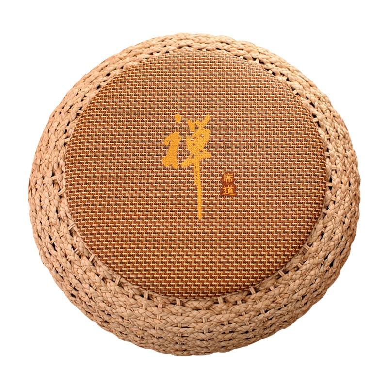 Almofada redonda do assento do rattan do banco do pufe do pufe do pufe do pufe da palha da meditação do assoalho da ioga