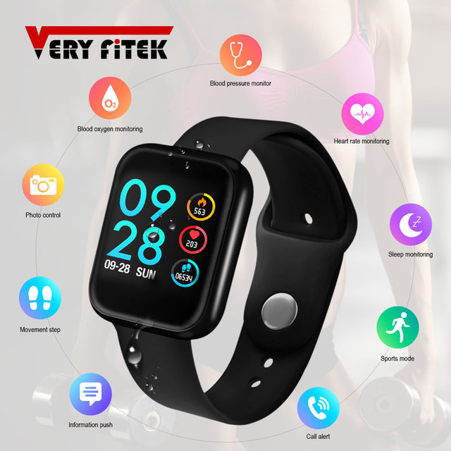 VERYFiTEK P70 Smart Watch, Blood Pressure, Heart Rate Monitor, IP68 Fitness, IOS & Android