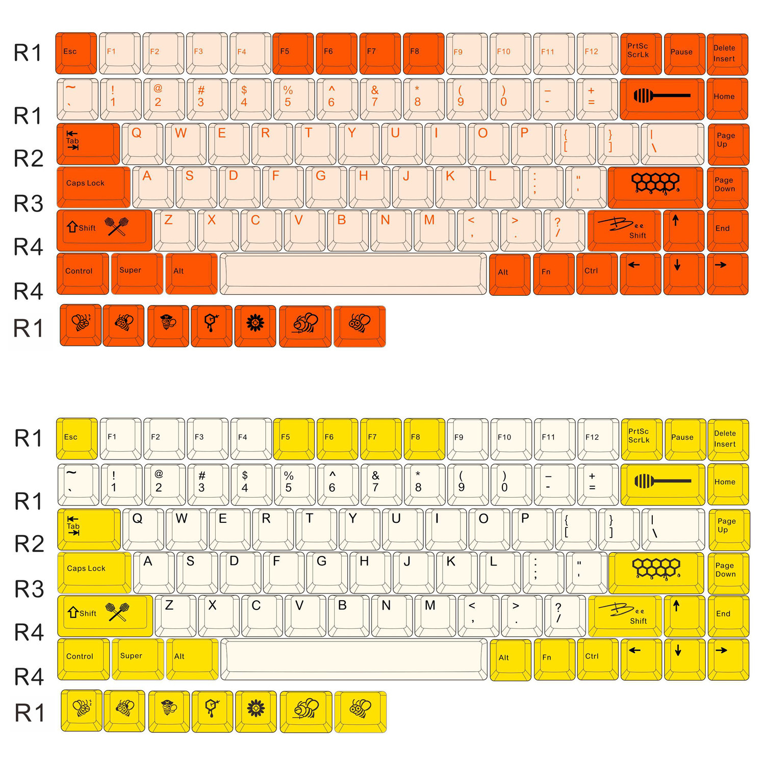 <font><b>84</b></font> keys Bee/Carbon PBT dye sublimation key caps Cherry profile <font><b>keycap</b></font> for <font><b>keycool</b></font> <font><b>84</b></font> mechanical keyboard with additional keys image
