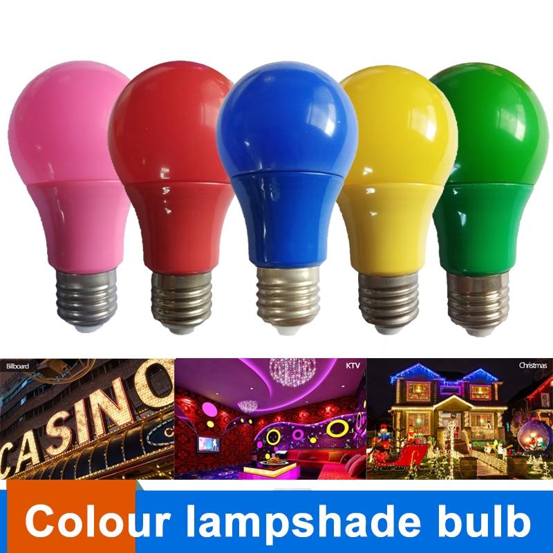 Colorful Globe Light Bulb E27 Led Bar Light 5W 7W 9W Red Blue Green Yellow Pink LED Lamp For Bar KTV Party Lighting