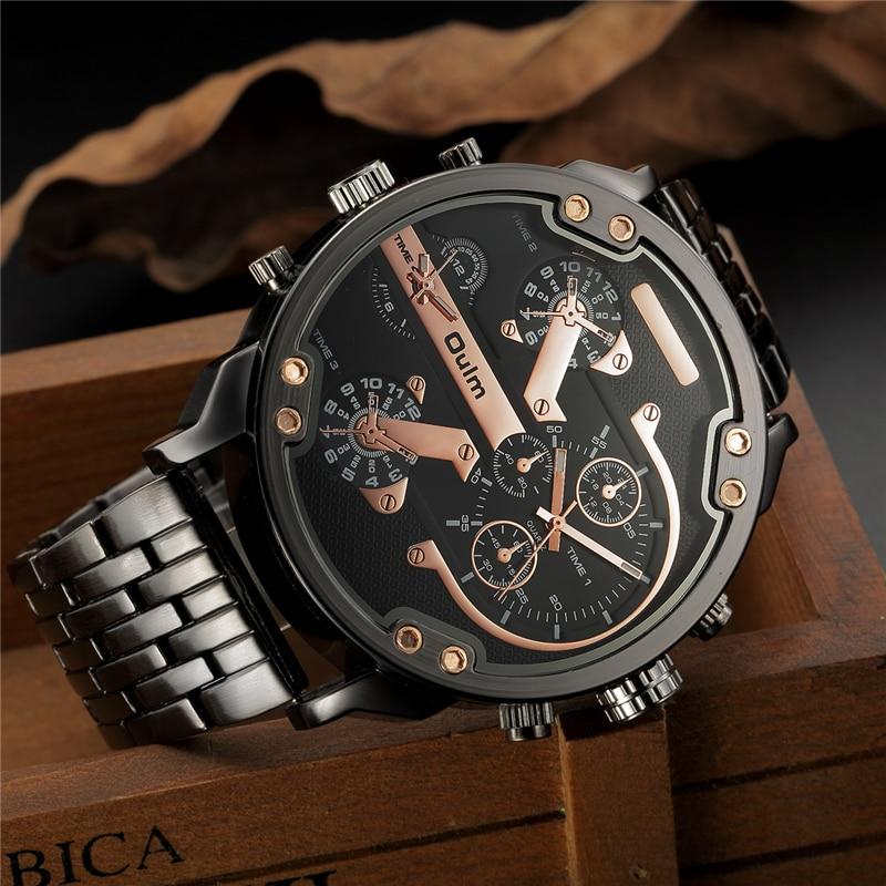 Prix pour Oulm Hommes Double movt Grand Cadran Japon De Luxe Militaire Montres Hommes Inoxydable Bracelet En Acier Montres Homme D'or Horloge