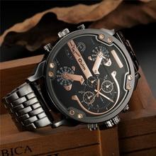 Oulm два часовых пояса большой циферблат Япония кварцевые Военная Униформа часы для мужчин Элитный бренд сталь наручные часы мужской воен…