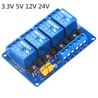 3.3 V 5 V 12 V 24 V 4 Kanaals Relais Module Hoge en lage Niveau Trekker Dual Optocoupler Isolatie relais Module