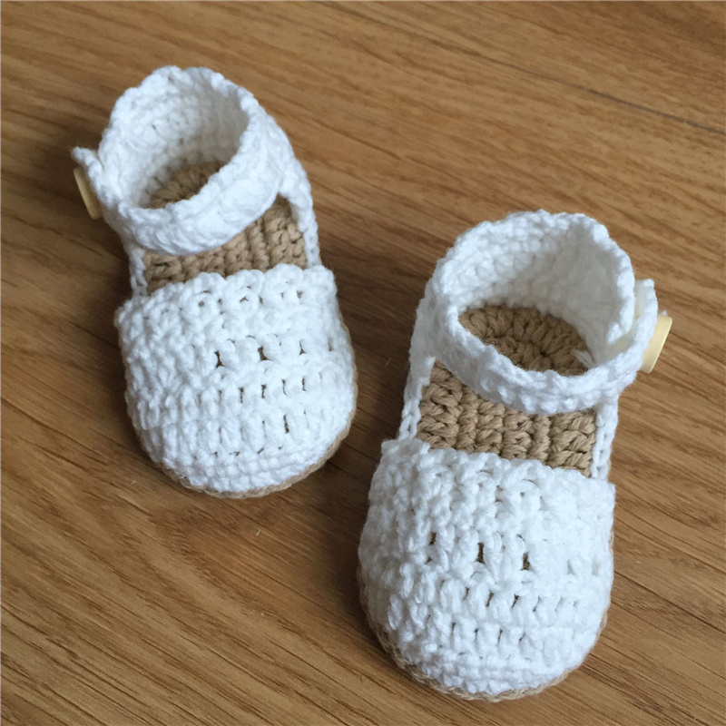 Qyflyxue Crochet Baby Shoes Baby Girl White Baby Toddler Shoes In