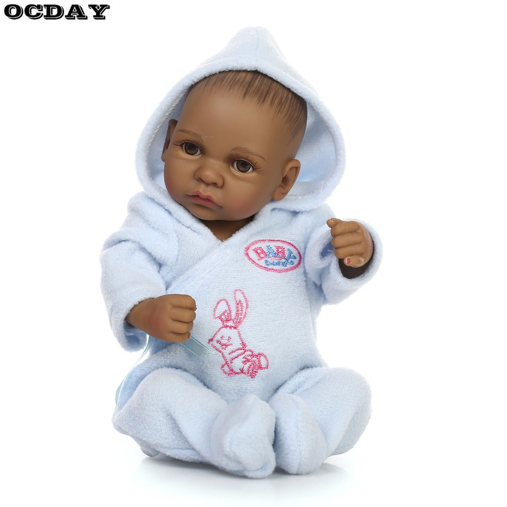 10 Inch Reborn Baby Doll Toys Black Lifelike Baby Boys Girls Bathing Doll Full Body Soft Silicone Best Birthday Gift for Kids