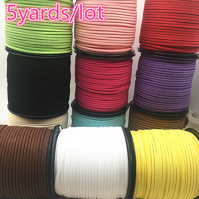 5yards/lot 3mm Flat Faux Suede Braided Cord Korean Velvet Leather Handmade Beading Bracelet Jewelry Making Thread String Rope