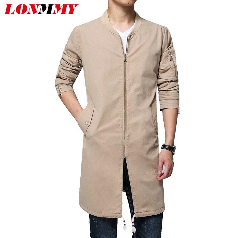 LONMMY M-6XL 2017 Winter Windbreaker Cotton Long styles coats men Casual Crew collar Mens overcoat Trench coat men jacket