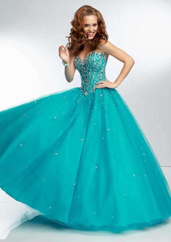 Lovely Beaded Sweetheart Backless Teal Blue Coral Ball Gown Prom ...