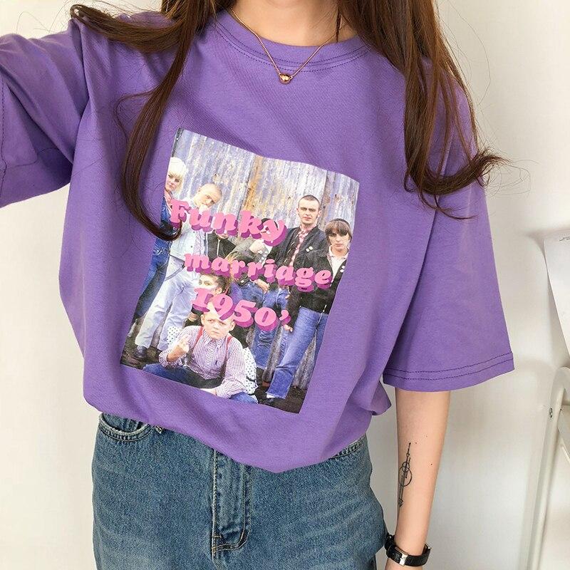 2 Colors 2018 Summer Harakuju Vintage Letter Print Loose Short Sleeve T-shirts Womens Tee Shirt Femme (B1208)