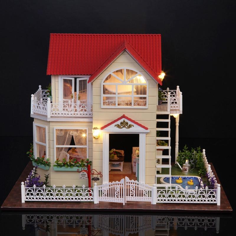 Mignon chambre bricolage maison de poupée modèle Miniature avec LED 3D meubles en bois maison jouets faits à la main cadeaux d'anniversaire pour enfants A033 # E-in Poupée Maisons from Jeux et loisirs    2