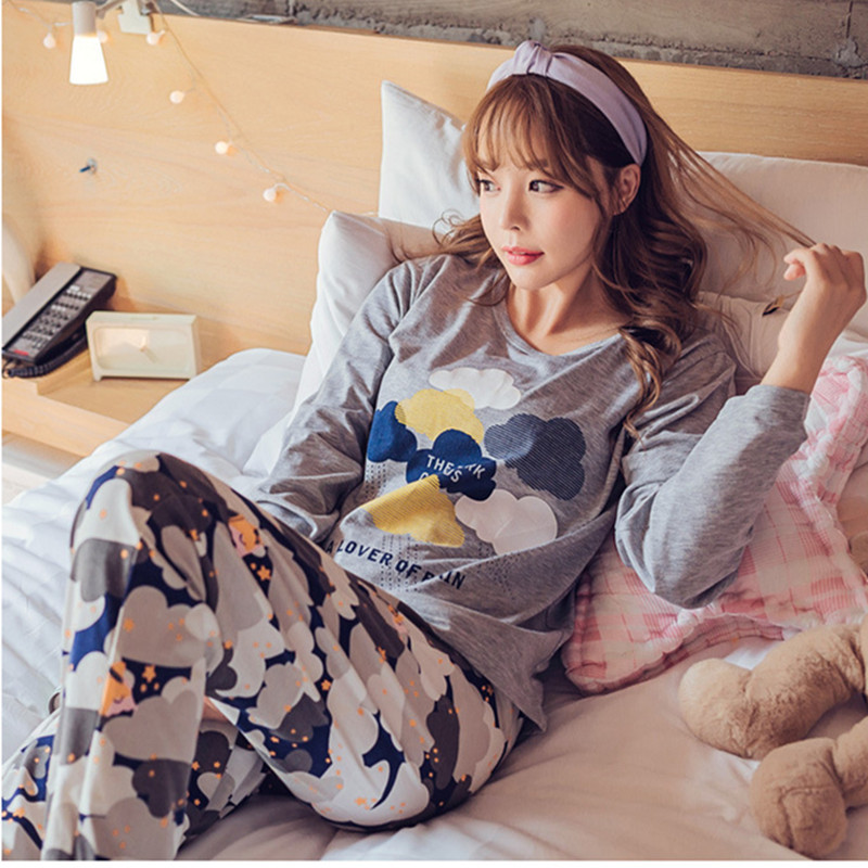 Womens   Pajamas     Sets   2019 Summer Round Neck Cartoon sleepwear long sleeve trousers   pajamas     sets   Lovely home clothe Leisure wear