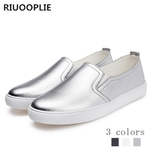 RIUOOPLIE Spring women flats Loafers ballet flats white sneakers shoes woman slip on black tennis shoes for women 9 colors 2018 spring women loafers fashion ballet flats sliver white black shoes woman slip on boat casual shoes moccasins s043