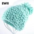 2015 invierno Mujer sombreros Beanie chica harajuku tapas líneas Gruesas de fibra de acrílico sombrero de lana de las señoras de punto a mano de punto sombreros gorros