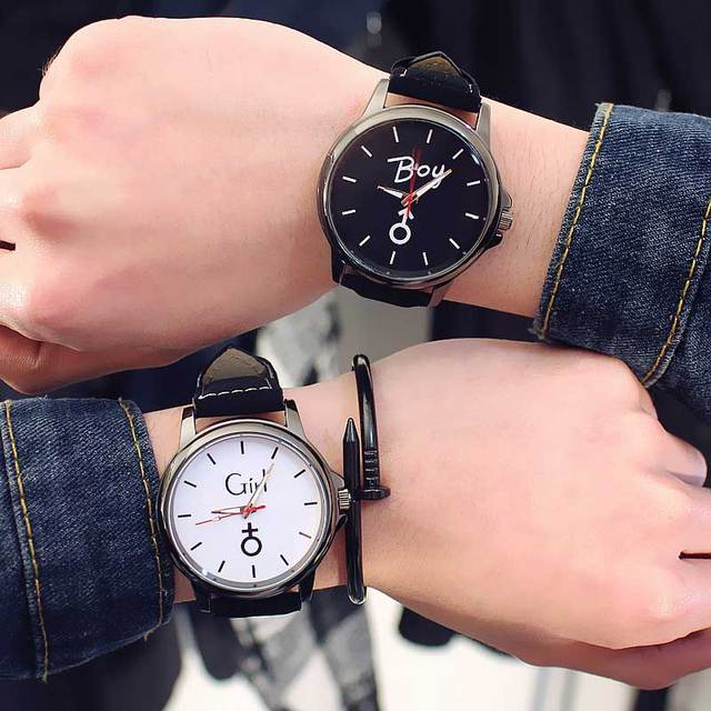 "Middle school couple Watch logo ""boy"" ""girl"" letters Lovers watches Harajuku ret"