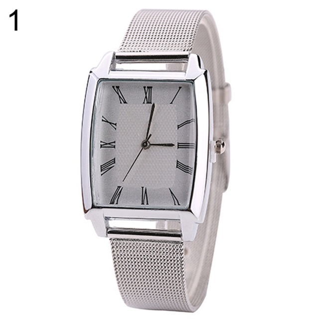 and Men's Women's Roman Numbers Square Case Mesh Band Quartz Casual Wrist Watch