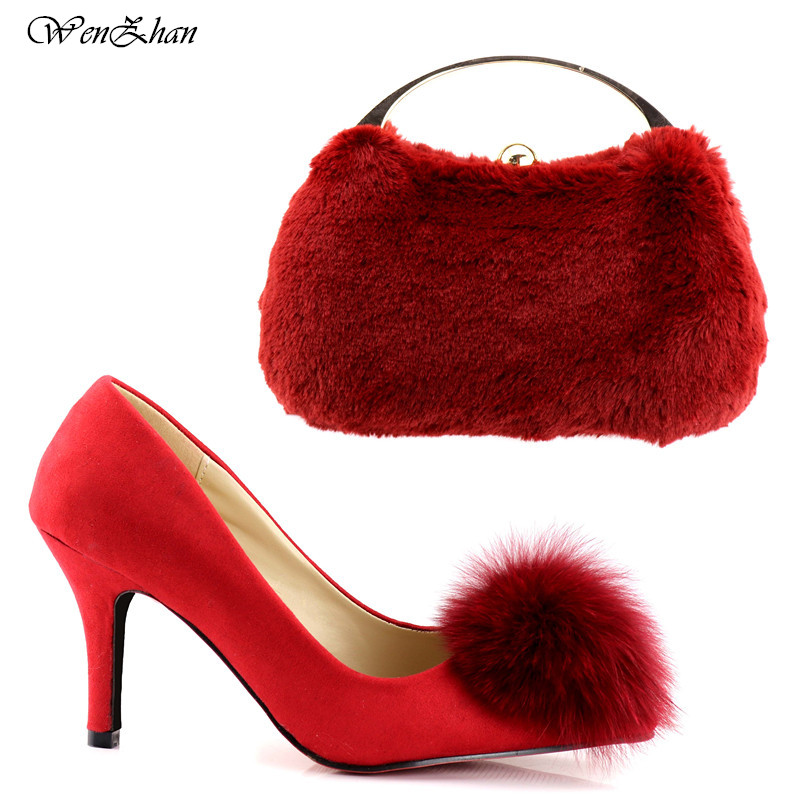 WENZHAN Newest Red Womens wedding shoes with matching bags Bride Fashion shoes and purse set 8.5cm heel Slip On Soft Pump C81-17