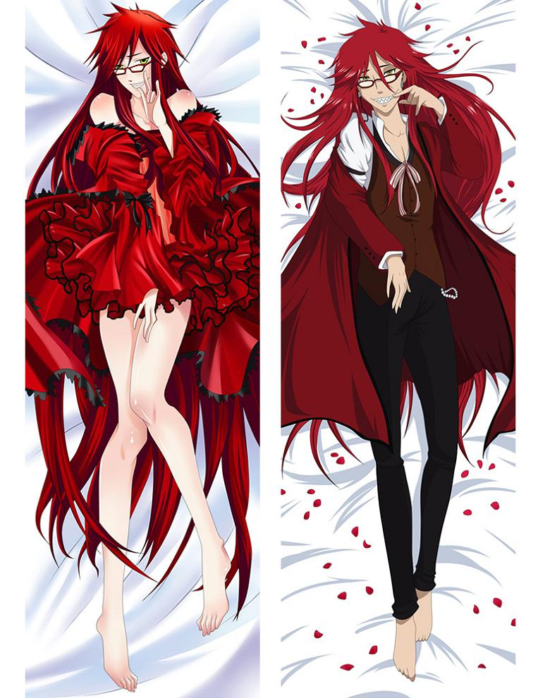 2 Black Butler Grell Sutcliff Hugging Body Pillow Cover Case Japanese Anime Male Pillow Covers 71048 (2)