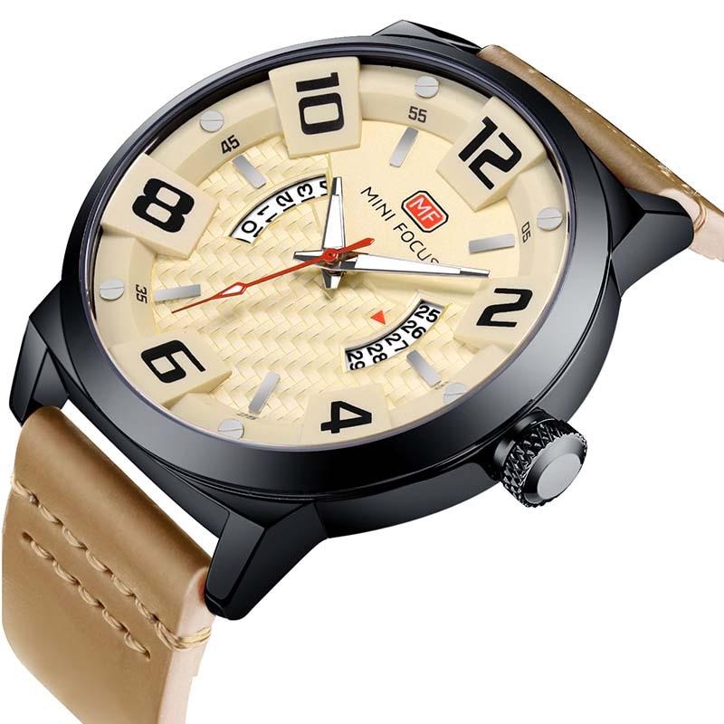 Luxury Brand MINI FOCUS Men Sport Watches Men's Quartz Clock Man Army Military Leather Wrist Watch Relogio Masculino