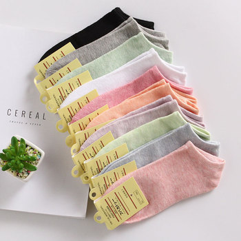 Color cotton female socks explosion models candy color ladies solid invisible shallow mouth sock