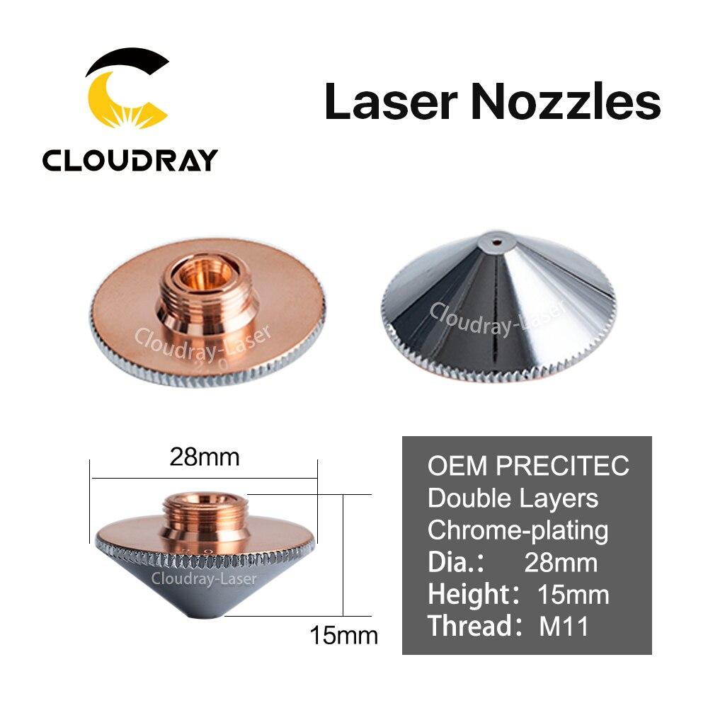 Cloudray Laser Buse Double Couches Chrome-placage Dia.28mm Calibre 0.8-4.0 OEM Precitec P0591-571-00001 FIBER DE Tête De Coupe