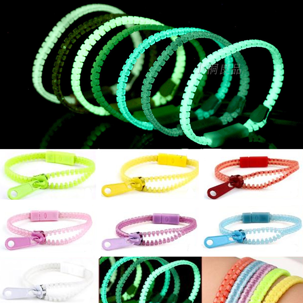 10pcs lot glow in dark fluorescent zipper bracelet wristband rainbow personality gifts for women. Black Bedroom Furniture Sets. Home Design Ideas