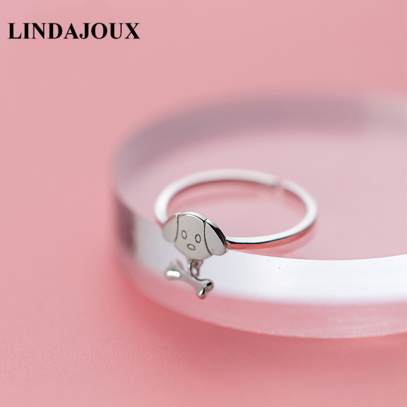 LINDAJOUX Cute Dog Charm 925 Sterling Silver Open Ring For Women S925 Silver Wedding Engagement Rings
