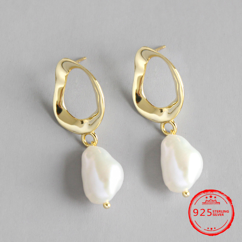 Wedding-Drop-Earrings Jewelry 925-Sterling-Silver Natural-Freshwater-Pearl Baroque Women