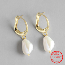 100% Real 925 Sterling Silver Baroque Irregular Natural Freshwater Pearl wedding Drop Earrings for Women Simple Fashion Jewelry