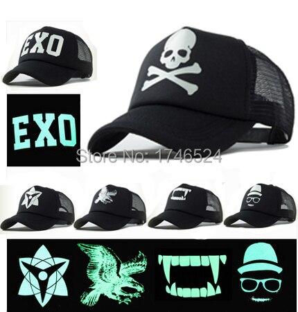 2016 Summer New Fashion EXO Skull Luminous Printing Hip Hop Mesh   Baseball     Caps   Sun Hats Gorras Snapbacks Casquette For Men Women