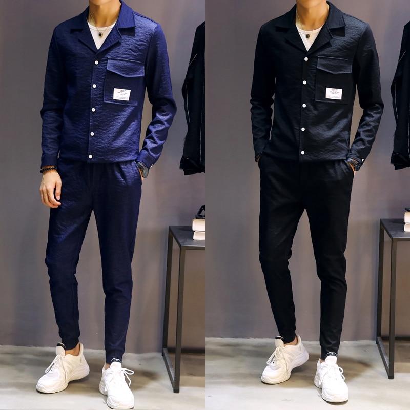Mince Pantalon Veste Slim Hommes De Style bleu Pcs 2 Streetwear Mâle Fit Ensembles Pantalon Manteau Noir Mode Casual veste Hip Survêtement Hop Chemises gwqantW8v