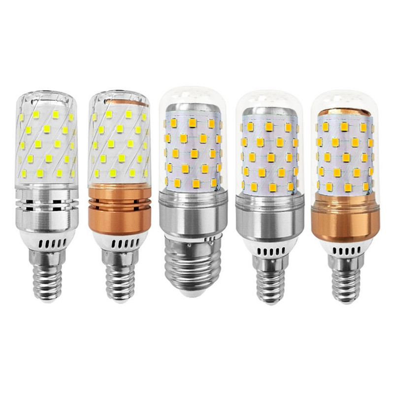SMD2835 12W 16W Base E27 E14 E12 LED Corn Bulb Light 110V 220V 360 Degree 3 Colors LED Candle light Spotlight AC 85-265V