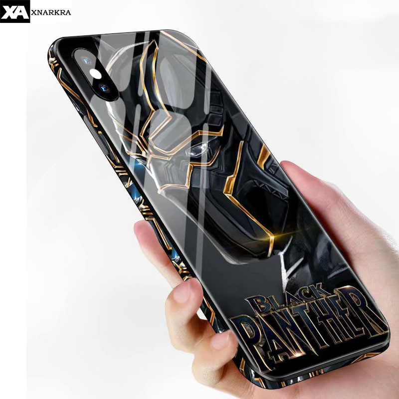 Racun Panther Hitam Batman Iron Man Tempered Glass Case untuk iPhone 11 Pro X XR X MAX 7 8 6 6S Plus Superman Spiderman Cover