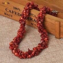 51520858b706 Collar de moda collar de coral rojo boda joyería irregular Piedra natural  collar Femme
