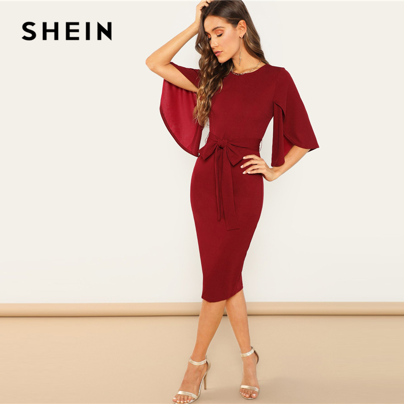 SHEIN Weekend Casual Round Neck Flutter Sleeve Self Belted Pencil Dress Autumn Modern Lady Casual Women Dresses