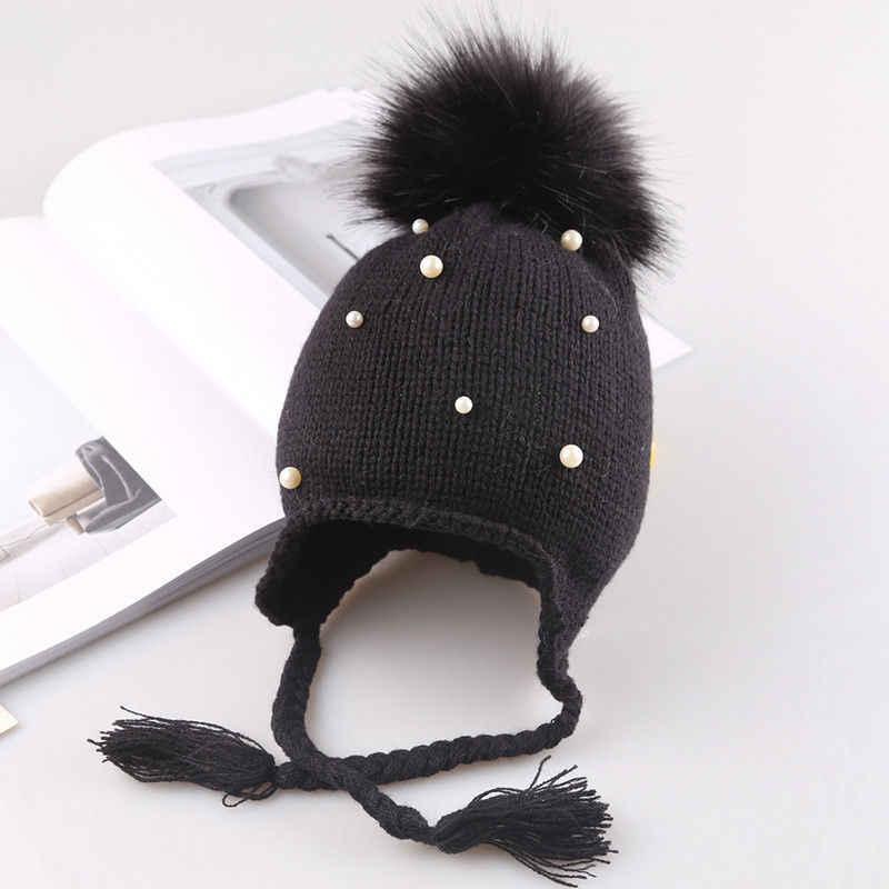 2019 น่ารักเด็กทารก Beanies หมวกเด็กโครเชต์ฤดูหนาวที่อบอุ่นถักหมวกหมวกเด็กทารกเด็กหญิง beading ผมหูฟังหมวก