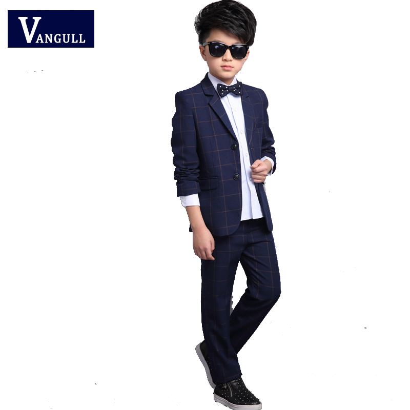 Autumn and winter of 2017 selling children 4-13 years old boy suit blended classic Plaid suit jacket + pants two piece children s sets 2015 autumn and winter leisure fleece suit boy s jacket and pants