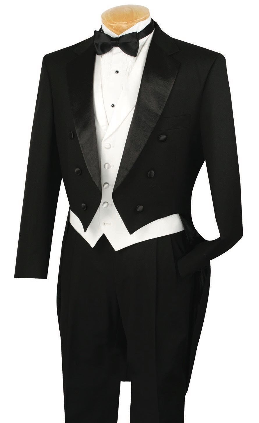 Fit Slim 3Pcs Black Lapel Groom Men's Suits With Tail Coat Formal Party Custom